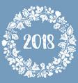 pastel laurel wreath new year 2018 white frame vector image