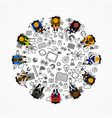 people sitting in a circle vector image