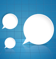 Round speech bubble on blue tile background vector image