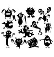 set cute halloween monster silhouettes vector image