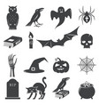 set of halloween icon silhouette vector image vector image