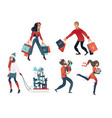 set of people doing shopping vector image vector image