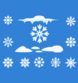snowflake winter set blue on white background vector image vector image