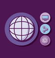 sphere with monitor and set icons vector image vector image