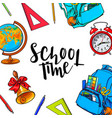 square frame banner with school items round vector image vector image