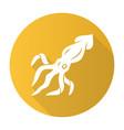squid yellow flat design long shadow glyph icon vector image