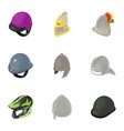 strong helmet icons set isometric style vector image vector image