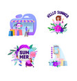 summer set banners and posters with characters vector image vector image