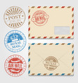 vintage envelopes template with grunge postal vector image vector image
