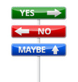 yes no maybe - three colorful traffic sign with vector image vector image