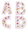 sheet alphabet Letter A B C D vector image