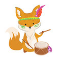 cartoon fox with an indian headdress made of vector image