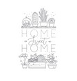 shelf with flowers home sweet home vector image