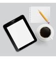 Abstract design tablet coffee pencil blank page on vector image vector image