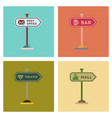 assembly flat icons sign of bar post office mall vector image vector image