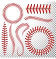 baseball stitches set red lace