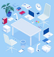 big isometric office furniture set create your vector image