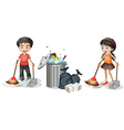 Boy and girl sweeping the floor vector image vector image
