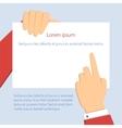 businessman holding horizontal blank vector image vector image