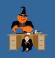 businessman scared under table of pumpkin vector image vector image