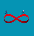 businessmen running on infinity symbol concept vector image