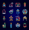christmas neon icons vector image vector image