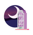 city building landscape urban at night moon vector image
