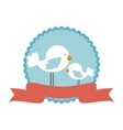 cute bird decorative card vector image vector image