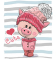 cute cartoon pig girl in a hat and coat vector image vector image