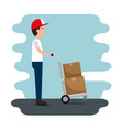 delivery service with courier lifting box vector image