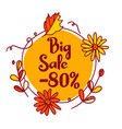 discount poster at 80 percent big sale vector image