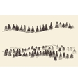 Fir Forest Contours Engraving in Mountains vector image vector image