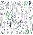 floral pattern with doodle flowers and leaves vector image vector image