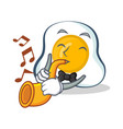 fried egg character cartoon with trumpet vector image vector image