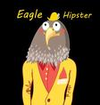 funny hipster predatory eagle on a black vector image vector image