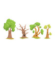 funny trees cartoon characters collection comic vector image vector image