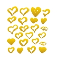 Gold Hand Drawn Brush Hearts vector image