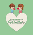 happy valentines cute couple holding hearst in vector image vector image