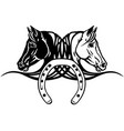 heads black and white horses with shoe vector image vector image