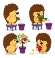hedgehog grow tree with apple vector image vector image