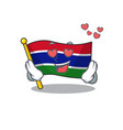 in love flag gambia fluttering on cartoon pole vector image vector image
