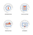 information calculating protection internet set vector image vector image