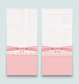 lacy pink cards with ribbon and bow to design vector image vector image