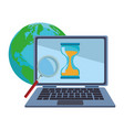 laptop and work around world vector image vector image