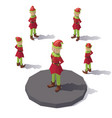 low poly christmas elf vector image vector image