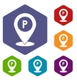 Map pointer with car parking sign icons set vector image vector image