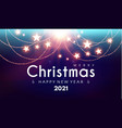 merry christmas and happy new 2021 year shining vector image