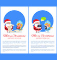 merry christmas helping girl vector image