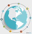 Modern globe with application icons Business vector image vector image
