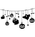 paper garland for halloween with mystical vector image vector image